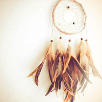 Dream Catcher - Great Many Dreams - With Natural Brown Feathers, Light Violet Frame, Light Brown Nett - Home Decor, Mobile