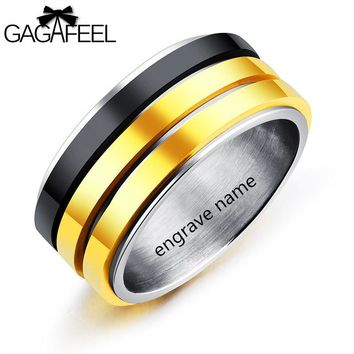 GAGAFEREL laser Engrave Stainless Steel Ring For Men Jewelry Turn Three Layers Fingle Black Gold Color Titanium Rings Male Gifts