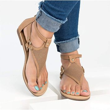 Womens Roman Vegan Leather Flip Flop Sandals