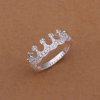 Free shipping Sterling solid silver fashion jewelry Inlaid crown Ring SR254
