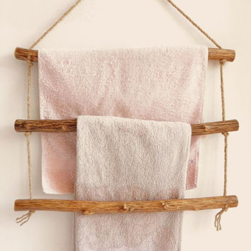 Natural Rustic Wood Handcrafted Door Towel Hanger, Rustic Towel Hanger, Natural Wood Towel Hanger