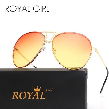 ROYAL GIRL Retro Brand Women Sunglasses Oversize Pilot Rimless 2017 Hot Summer Ombre Glasses ss627