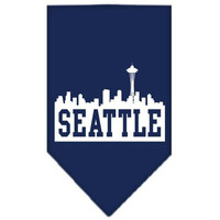 Seattle Skyline Screen Print Bandana Navy Blue large