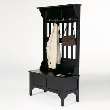 Hall Tree & Storage Bench (Black)