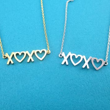 XOXO Love Hugs and kisses Typography Pendant Necklace