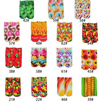 Eggs, Corn, Flowers, Candy Strawberry, Weed Socks Funny Crazy Cool Novelty Cute Fun Funky Colorful