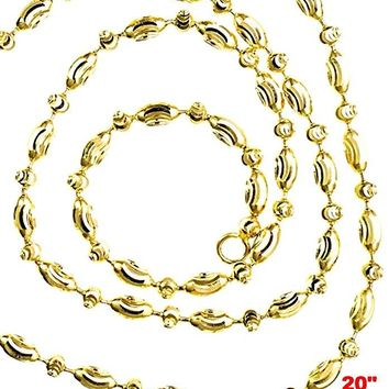 """14K Yellow Gold layered on 925 Silver diamond cut Moon Oval Chain / Necklace - 2mm 20"""""""