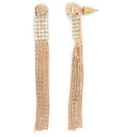 Dazzling Womens Metal Stud Dangle Earrings / Jewellery With Rhinestones & Chain Fringes - Gold