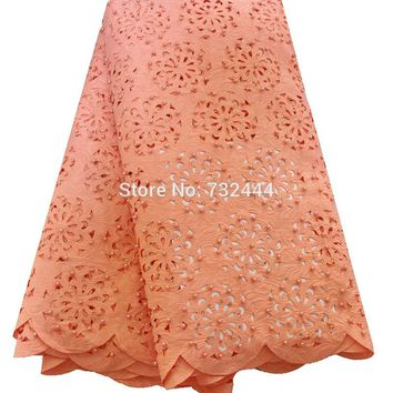 Fashion design african lace fabric hollow out beaded laser cut lace fabric