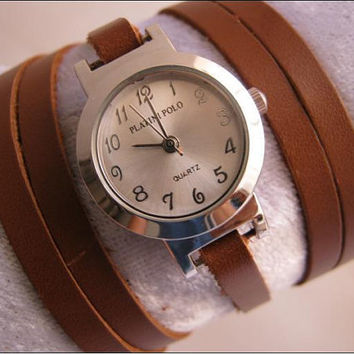 Handmade Bracelet Watch with a real leather by alfrescouniquegroup