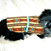 Cotton Little Dog's Coat Navajo Print - Rust, Tan, Black & Turquoise with Trim Made to Order