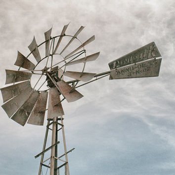 Old Windmill, Rustic Landscape Photography, Farmhouse Decor, Wall Art, Blue, White, Grey | 'Dempster No. 12'
