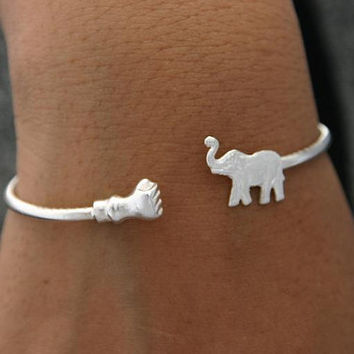 Good Luck Trunk Up Sterling Silver Elephant Bracelet
