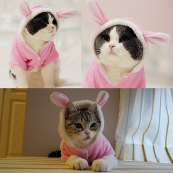 Easter Bunny Costume Cat or Dog Fleece Hoodie Rabbit Outfit Clothing for Pets