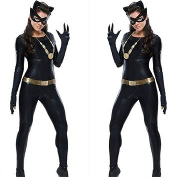 DCCKFV3 Women's  Latex Catsuit Catwomen Fancy Costume Cosplay DS Party Clothes With Gloes