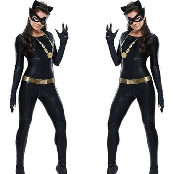 LMFIJ6 Women's  Latex Catsuit Catwomen Fancy Costume Cosplay DS Party Clothes With Gloes