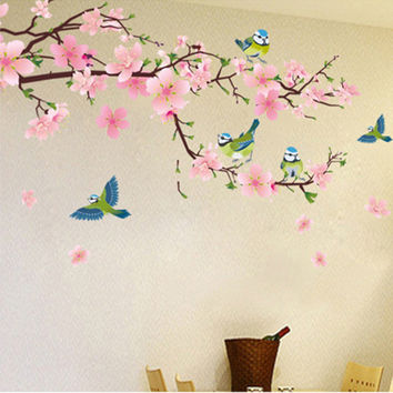 Romantic Peach Blossom and Swallow PVC Removable Room Decal Art DIY Wall Sticker Home Decor  popular stickers