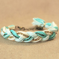 Mint bracelet, mint friendship bracelet with rhinestones and chain, braid bracelet