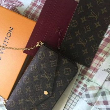 VOND4H Louis Vuitton Pochette Felicie Monogram Wallet Authentic