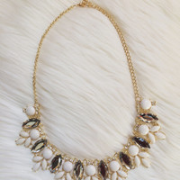 Jcrew Inspired White Crystal Statement Necklace