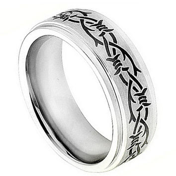 Brushed Center Laser Engraved Barbed Wire Design Cobalt Ring 8MM