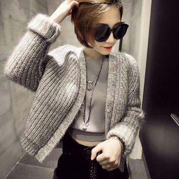 2016 New Arrival Fashion Granny Chic Bright Silk Fabric O-neck Long Sleeve Solid Thick Cardigans Women's Sweaters A0158