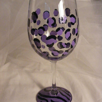 painted purple leopard and zebra wine glass - custom colors available - perfect for bridesmaid or bridal shower
