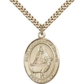 "Saint Catherine Of Sweden Medal For Men - Gold Filled Necklace On 24"" Chain -... 617759984903"