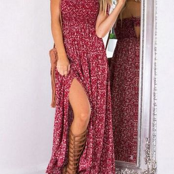 Two Front High Split Maxi Dress