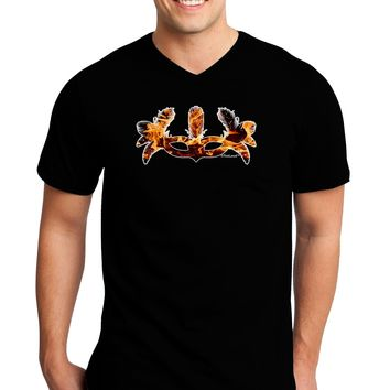 Fire Masquerade Mask Adult Dark V-Neck T-Shirt by TooLoud