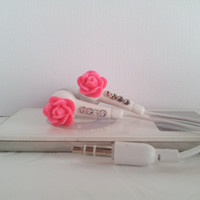 Sweet Pink Rose Flower Earbuds  With Swarovski Crystals