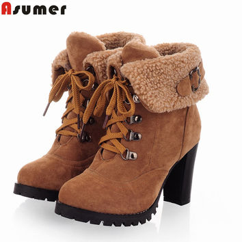 ASUMER new fashion thick high heels warm snow boots lace up fur inside women's ankle boots platform shoes woman