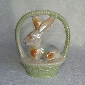 Vintage Easter Decor, Ceramic Rabbit, Bunny in a Basket, Mint Green, Lusterware, Made in Brazil