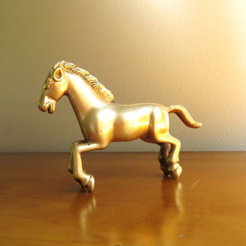 Vintage Brass Baby Horse Figurine, Foal Statue, Horse Collectible, Running Baby Horse