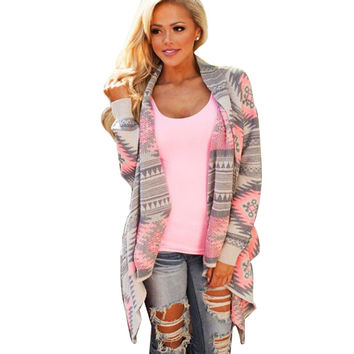 Women Tops Casual Blouse Printed Long Sleeve Irregular Coats Jacket Pink Kimono Cardigan Geometric Printed Cotton Knitted Poncho