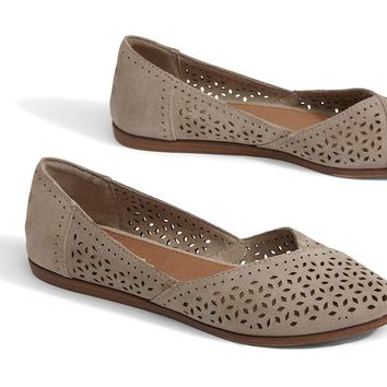 DESERT TAUPE PERFORATED SUEDE WOMEN'S JUTTI FLATS
