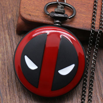 Cool Fashion Deadpool Theme Fob Pocket Watch With Black Chian Necklace Best Gift To Children