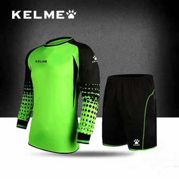 KELME Goalkeeper Men Soccer Jerseys Sets Long Sleeve T-shirt Shorts Doorkeepers Survetement Football Sponge Protector K15Z209-1