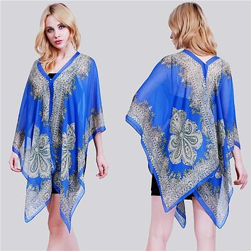Paisley Print Chiffon Beachwear Poncho Tunic Shawl Scarf Poncho Cape Women Kaftan Bikini Beachwear Swimsuit Cover Up BZ989114