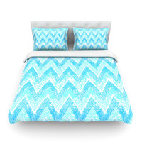 "Marianna Tankelevich ""Mint Snow Chevron"" King Cotton Duvet Cover - Outlet Item"