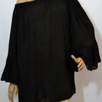 Cindy Indian Tropical Ruffle Off Shoulder Top--Black