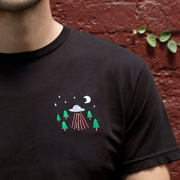 UFO Encounter Embroidered Graphite T-shirt by Altru Apparel
