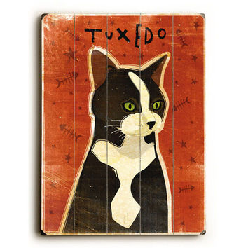 Tuxedo Cat by Artist John W. Golden Wood Sign