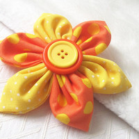 Fabric Flower Pin,  Yellow and orange fabric Corsage,  Floral Accessory,  Urban Daisy Design