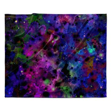 "Ebi Emporium ""Color Me Floral"" Celestial Blue Fleece Throw Blanket"