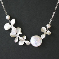 Wedding Jewelry Sweet heart pearl coin orchid Necklace by untie