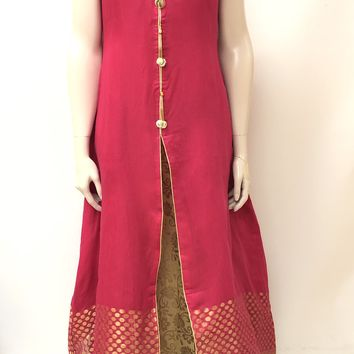 Long Layered Brocade Kurta- PINK