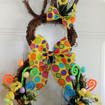 Yellow Easter Bunny Wreath Easter Wreath Grapevine Bunny Wreath Rabbit wreath Easter eggs front Door wreaths Door Hanger Decoration