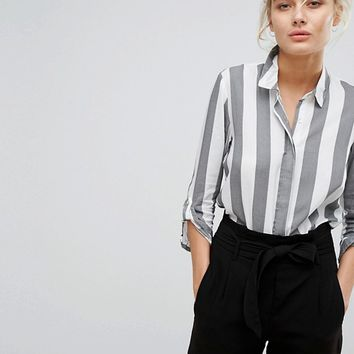 Stradivarius Wide Stripe Shirt at asos.com