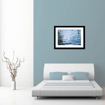 Blue bathroom art, abstract water photography, nautical wall decor print, nature photography, water picture, bathroom decor, bedroom art
